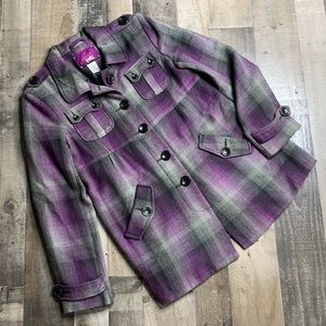 JACK BB DAKOTA PURPLE PLAID JACKET SZ L